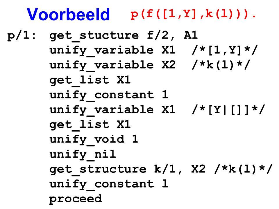Voorbeeld p(f([1,Y],k(l))). p/1: get_stucture f/2, A1
